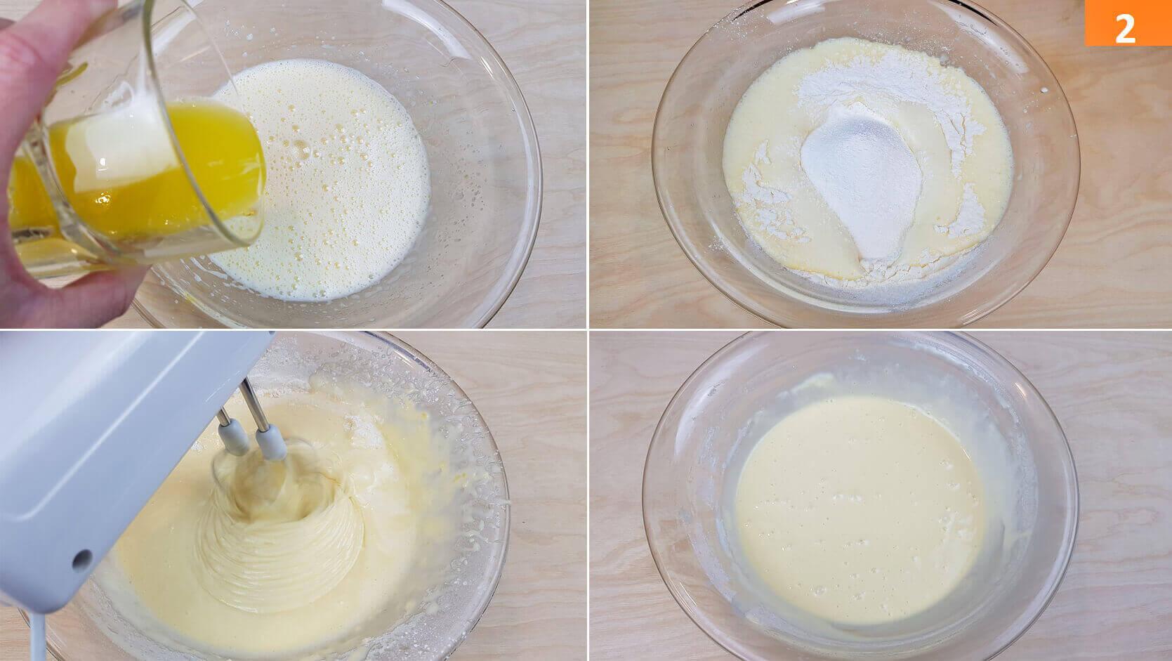Aggiungere Olio, Latte e la Farina