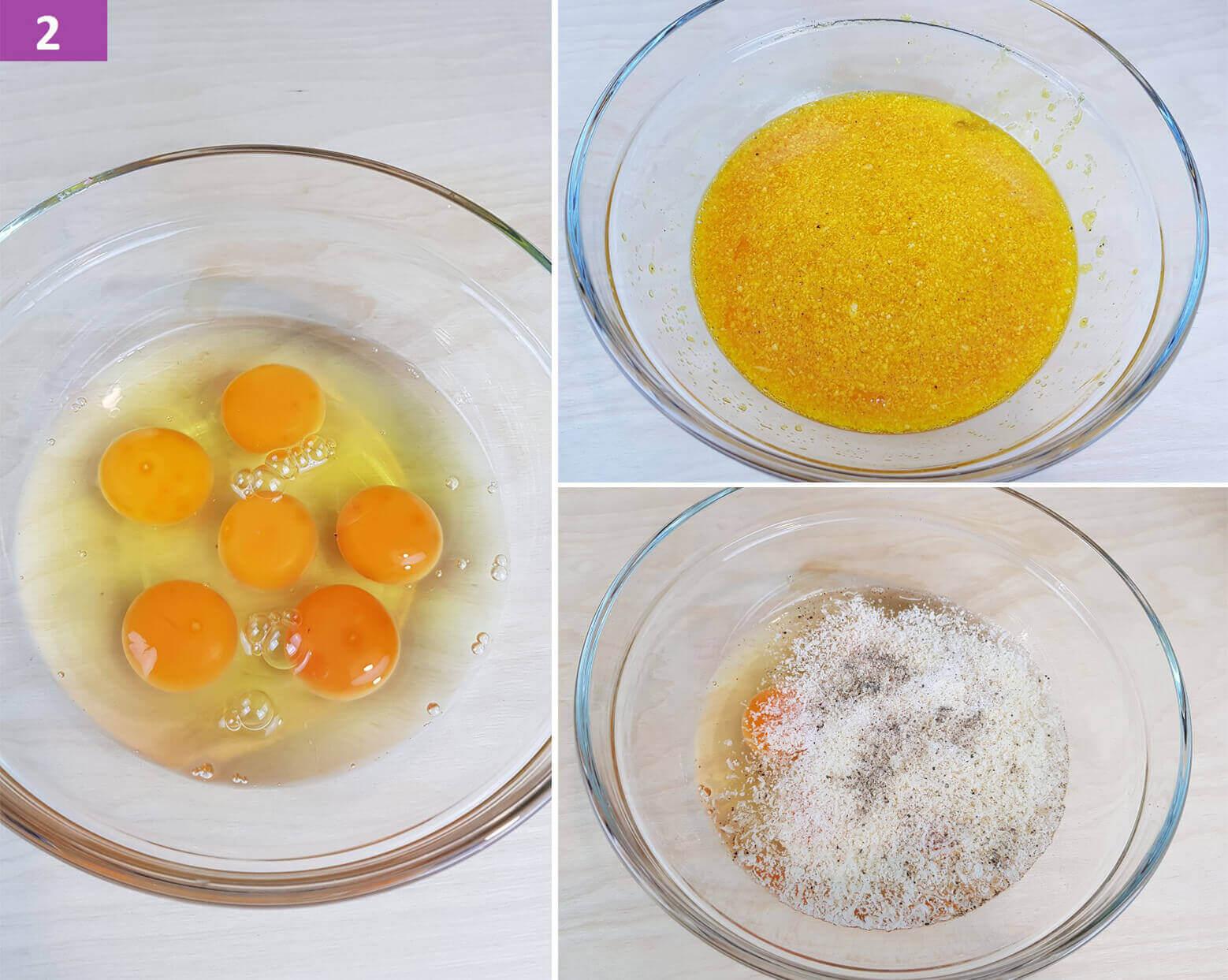 Amalgamare le Uova, Parmigiano Sale e Pepe