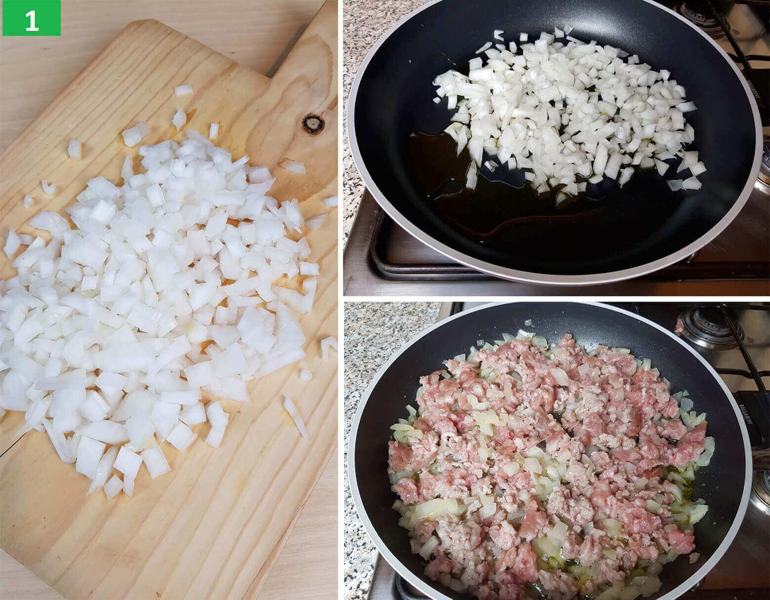 Tagliare la Cipolla e Cuocere la Salsiccia