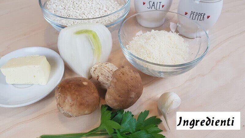 Ingredienti per Risotto con Funghi Porcini Freschi