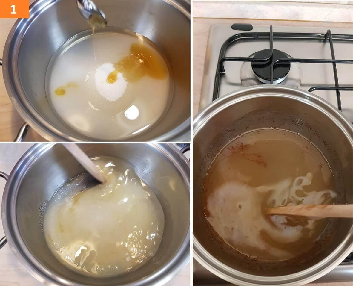 Sul Fuoco far sciogliere Zucchero e Miele con Acqua