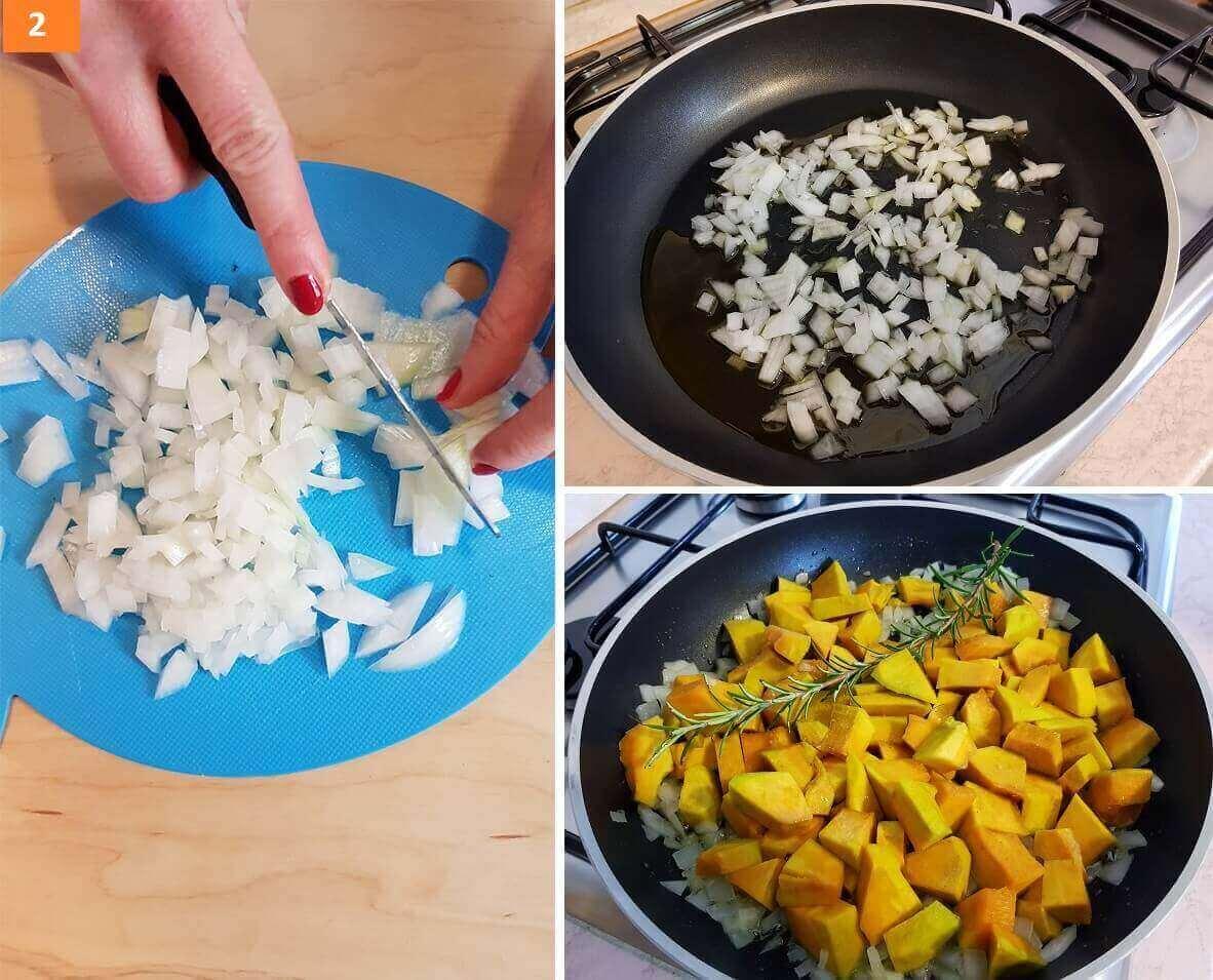 Tritare la Cipolla e Cuocere la Zucca in Padella