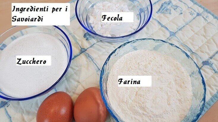 Ingredienti per i Savoiardi Artigianali