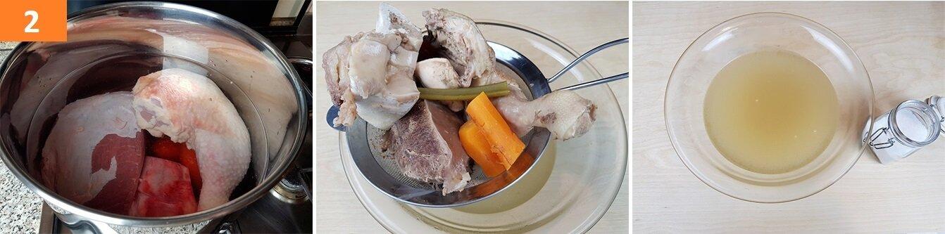 Cuocere ed in fine Filtrare il Brodo di Carne
