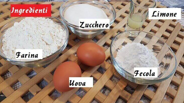 Ingredienti per i Savoiardi