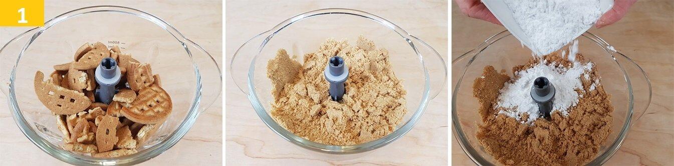 Tritare i Biscotti FINEMENTE e Aggiungere lo Zucchero a Velo