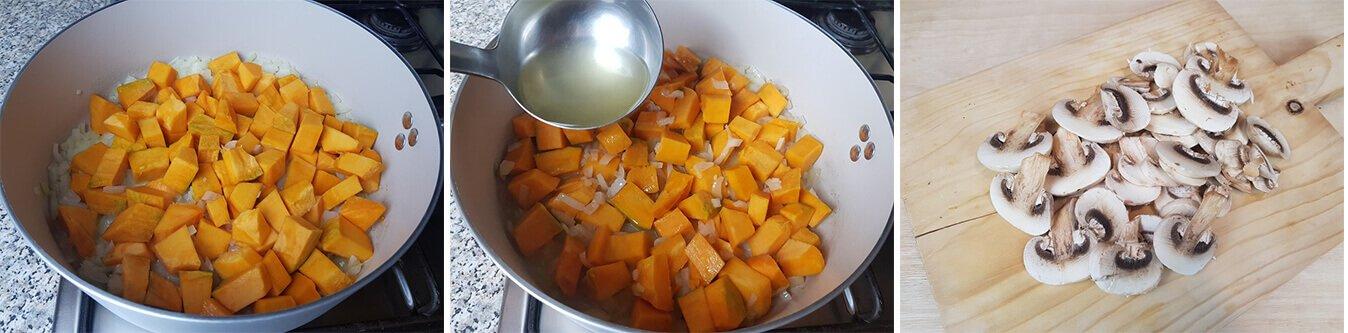 Cuocere la Zucca e tagliare i Funghi