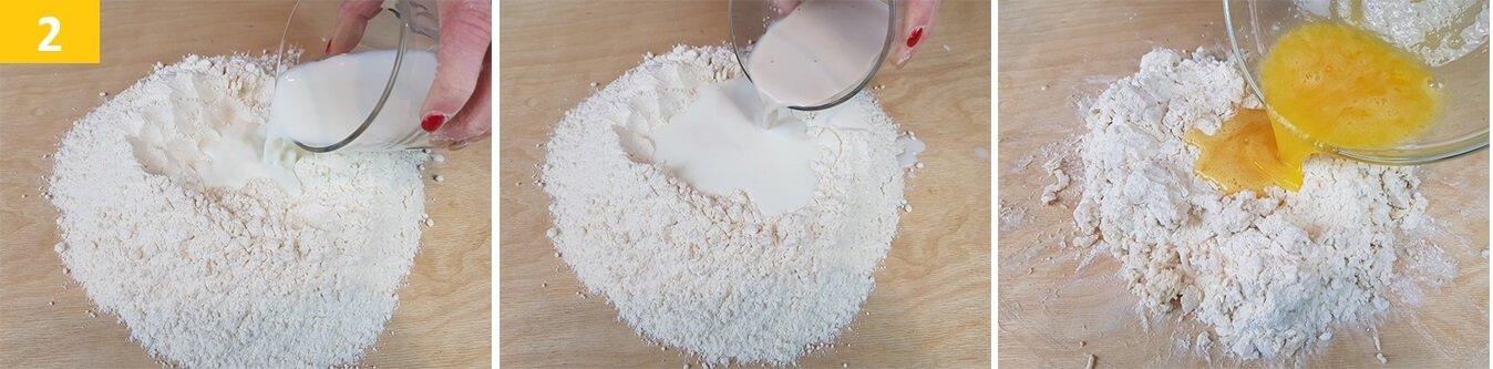 Mescolare la Farina con Latte e Lievito