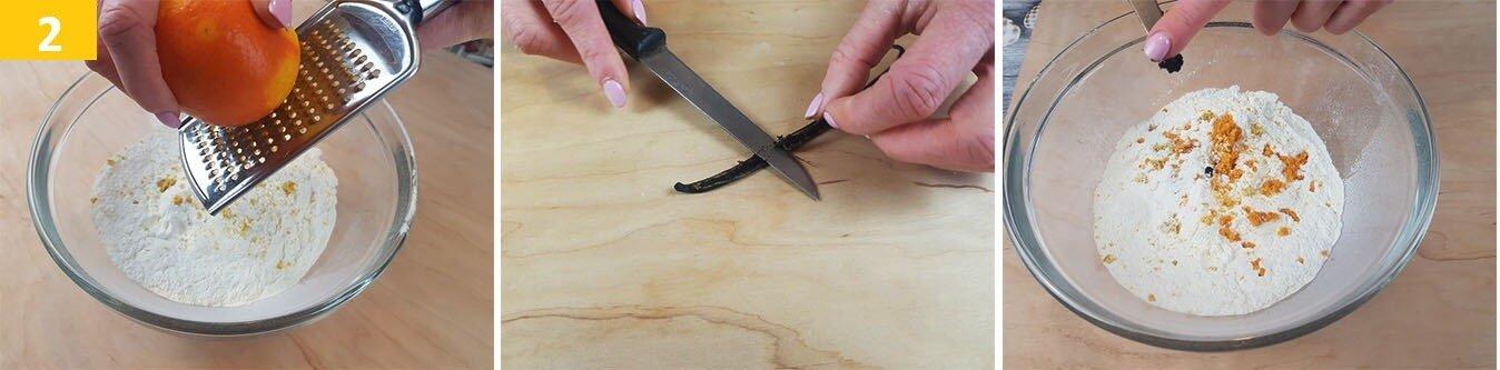 Grattugiare l'Arancia e Mettere i Semi di Vaniglia nella Farina