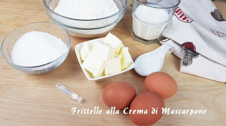 Ingredienti per le frittelle al Mascarpone