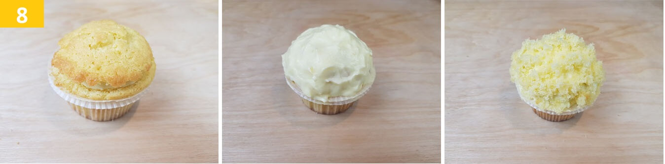 Coprire i Cupcake con Crema Diplomatica e decorare