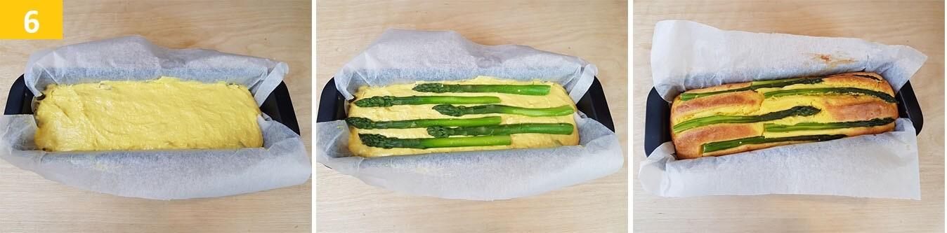 Fare il secondo strato di impasto di Asparagi e cuocere