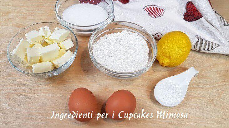 Ingredienti per il Cupcake Mimosa
