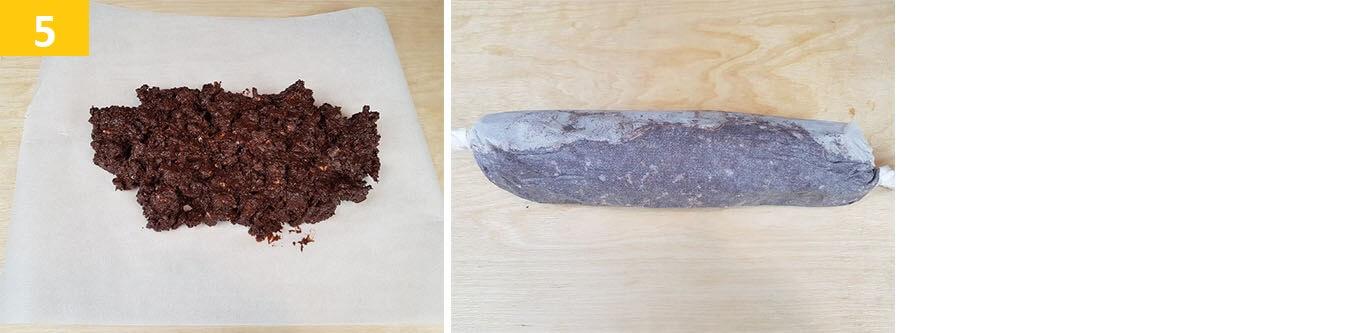 Versare il composto su carta forno, arrotolare e formare uno salsicciotto