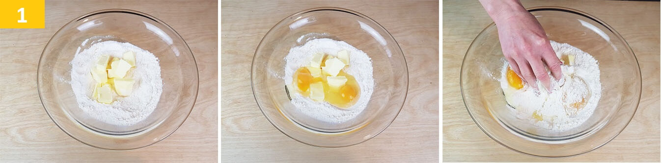 Amalgamare la Farina con Zucchero, Uova e Burro