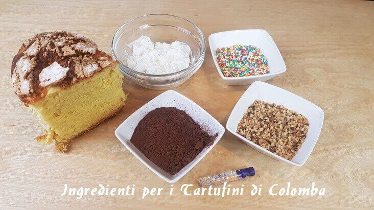 Ingredienti per i Tartufini di Colomba