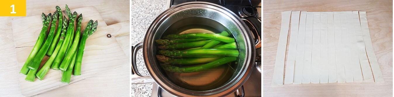 Lessare gli Asparagi e tagliare a strisce la Pasta Sfoglia