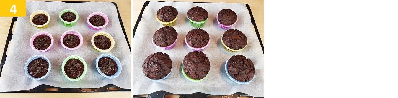 Aggiungere sulla superfice dei Muffin il Cioccolato e infornare