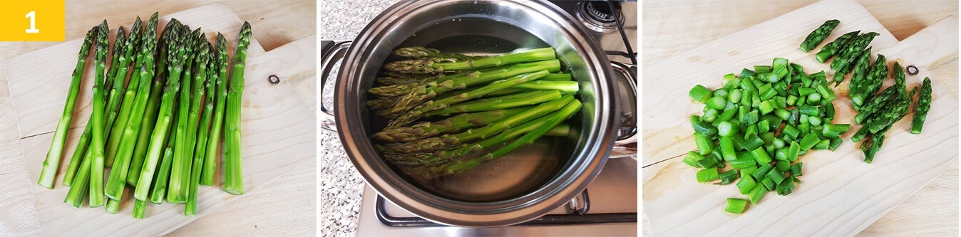 Cuocere gli Asparagi e tagliarli a rondelle