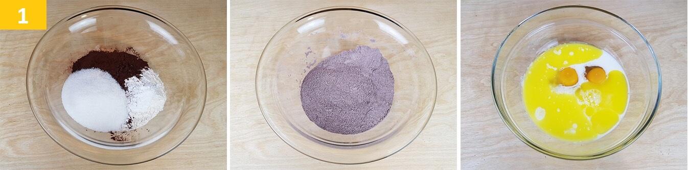 Mescolare gli Ingredienti secchi e preparare quelli Liquidi