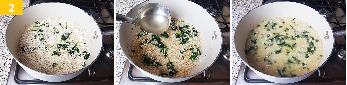 Far tostare il Riso, aggiungere il Brodo e Cuocere