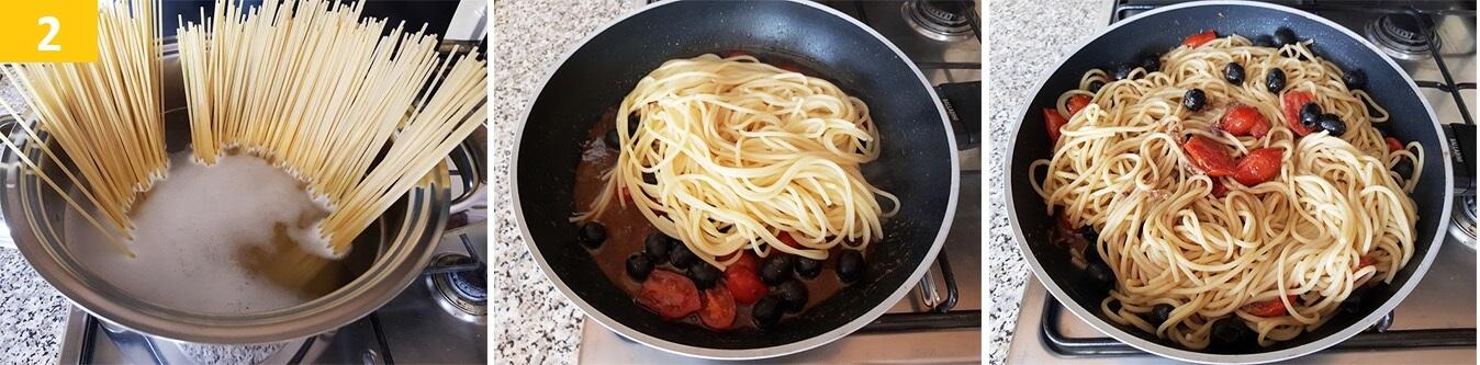 Lessare gli Spaghetti, unirli al Sugo di Acciughe e servire