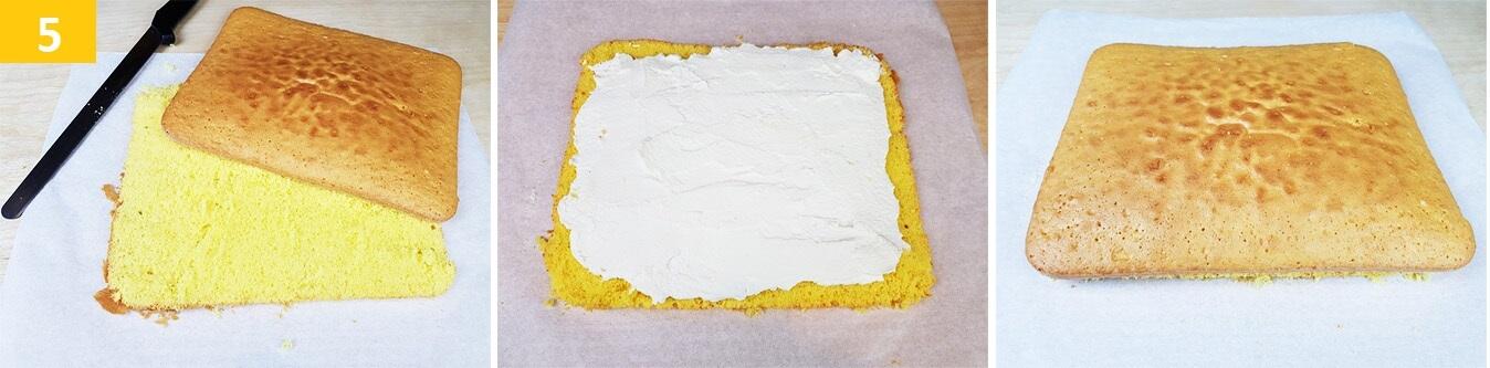 Tagliare il Pan di Spagna e farcire con la Crema al Latte