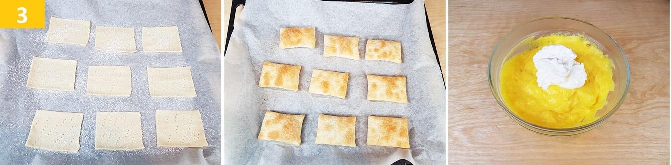 Bucherellare, Spolverizzare con Zucchero a Velo quadrati di Sfoglia