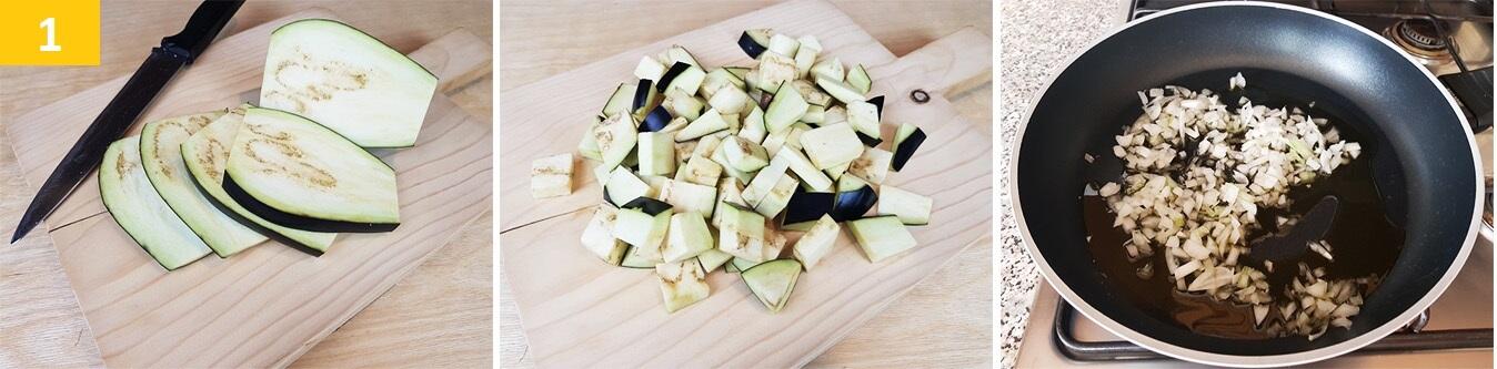 Tagliare le Melanzane e appassire la cipolla con l'Olio